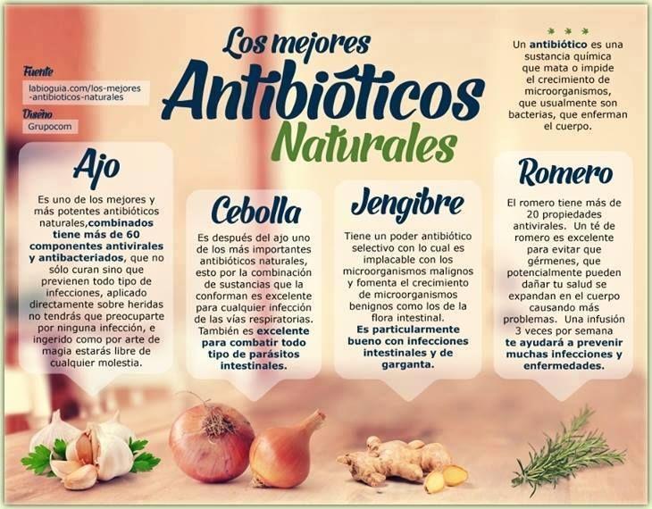 poster: Antibióticos naturales.... comidas saludables ...