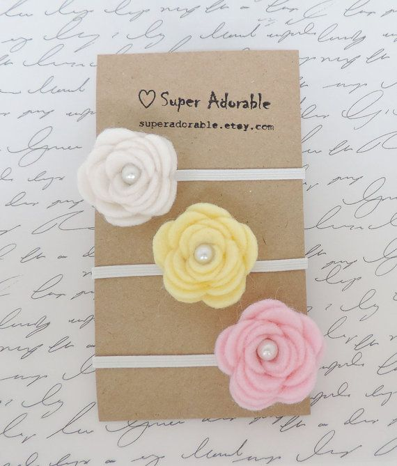 Felt Flower Headband Spring colors- Baby Felt Headband, Newborn Headband, Baby Girl Headband, Girls Headband #design #etsymnt