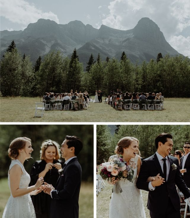 wedding planner, kismet and clover, canmore and banff wedding planner, rustic wedding, vintage wedding, wedding decor, rundleview park, ceremony, mountain backdrop