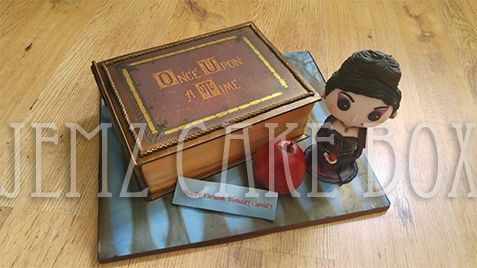 Once Upon A Time Celebration Cake with handmade figurine, designed and made by Jemz Cake Box