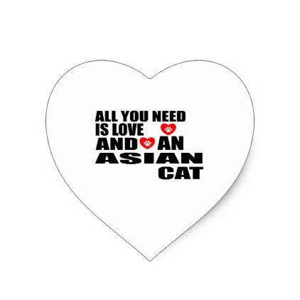 ALL YOU NEED IS LOVE ASIAN CAT DESIGNS HEART STICKER - craft supplies diy custom design supply special