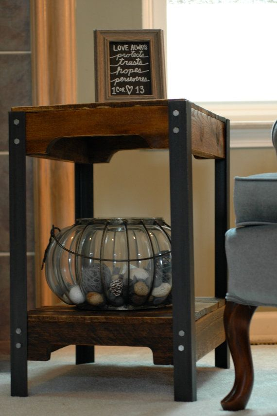 This listing is for 1 table!  Rustic yet masculine and refined....this industrial strength end table is made with pallet wood and steel. Each