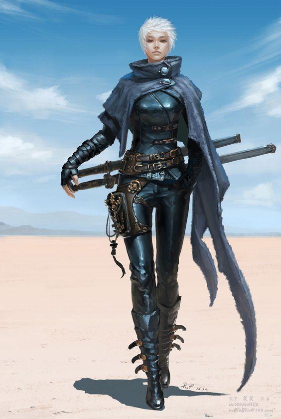 woman in leather armor in desert