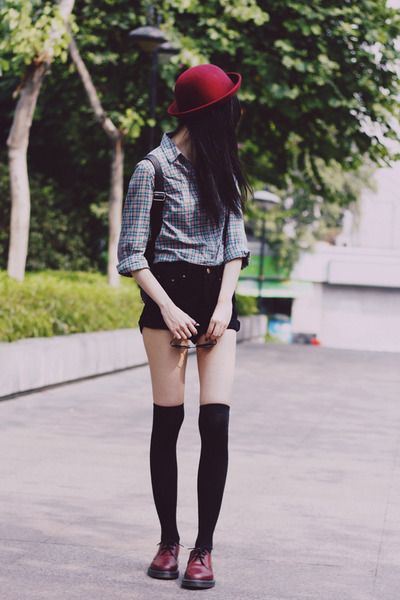 Bowler Hat http://www.chictopia.com/photo/show/756406-dissolved+girl-dr-martens-shoes-zara-shirt-sunglasses