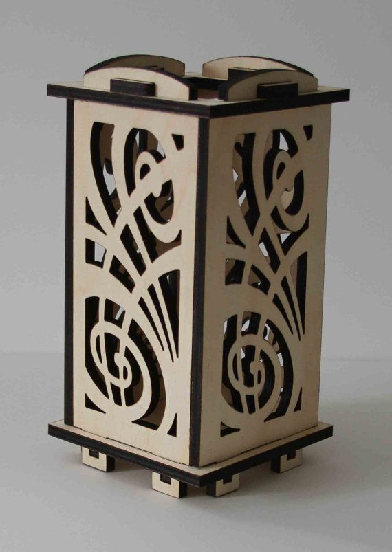 Laser Cut Wood Luminarie Tealight Lamp  Celebration by ellenstarr, $39.00