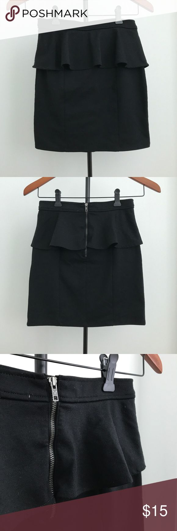 American Eagle Outfitters Black Peplum Skirt AEO high waist bodycon pencil mini peplum skirt. Pair with a crop top for a casual, chic look or a shirt/ t-shirt for a more professional look.  Excellent condition. Size 0 Length: 15in; Waist: 25in 70% Polyester, 25% Rayon, 5% Spandex American Eagle Outfitters Skirts Pencil