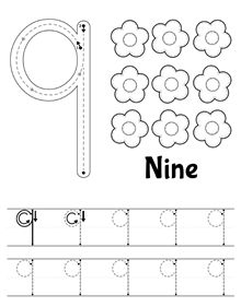 New tracing worksheet: Number 9. // Nueva ficha de trazo: Número 9…