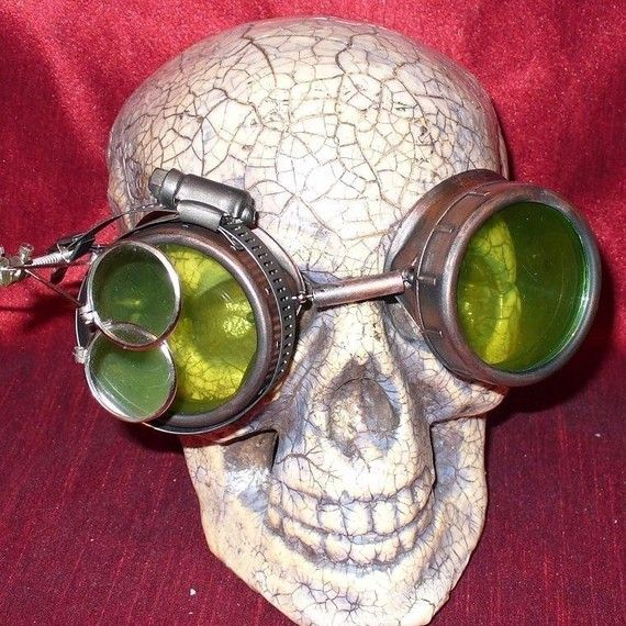 Steampunk Goggles Glasses AVIATOR by oldjunkyardboutique on Etsy