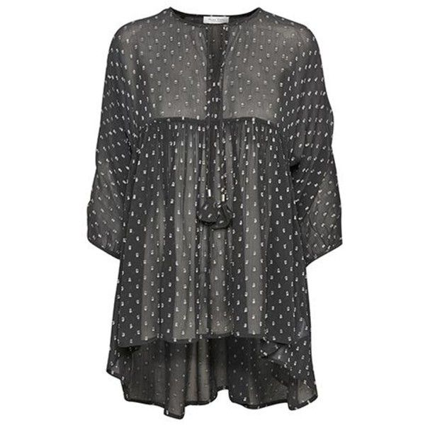 Jayil Sparkle Tunic Top (8,685 INR) ❤ liked on Polyvore featuring tops, tunics, polka dot top, see through tops, going out tops, smock top and polka dot tunic