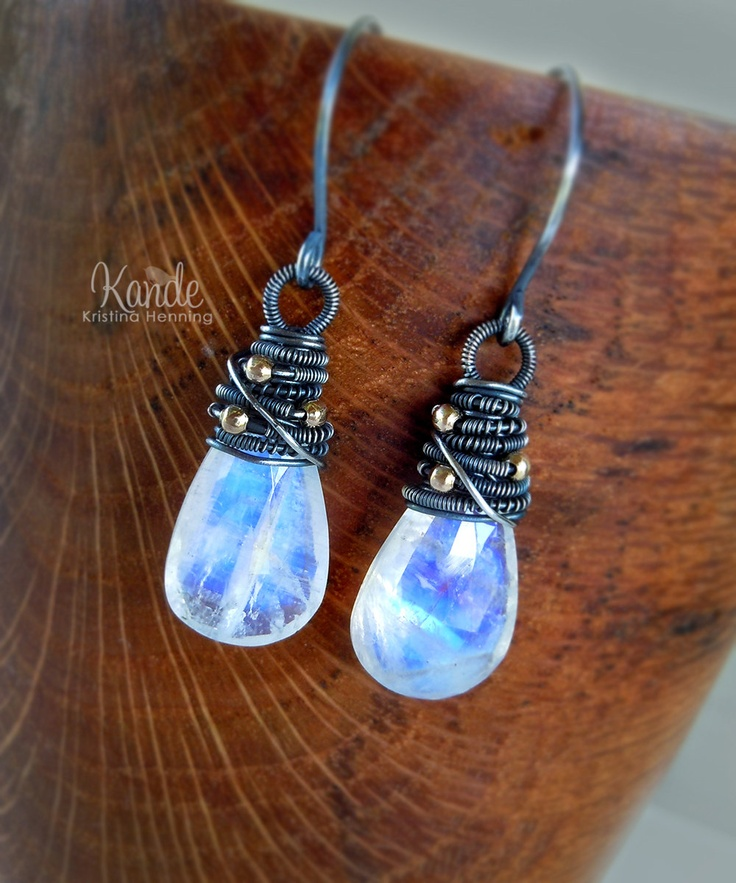 To Die For! Sale Moonstone Silver Earrings, Gemstone Jewelry White Stone Wire Wrap June BIrthstone Kande Fashion.