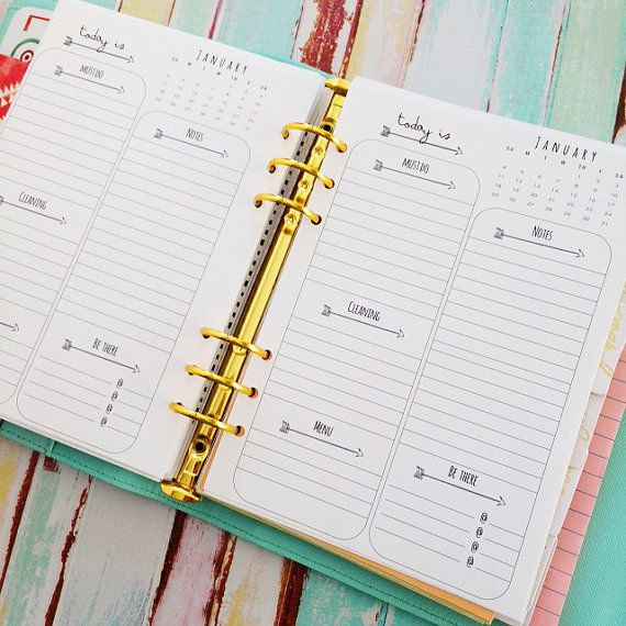 a5 Daily Planner Arrow Basic LIned Inserts > downladable digital printable< by Christy Tomlinson