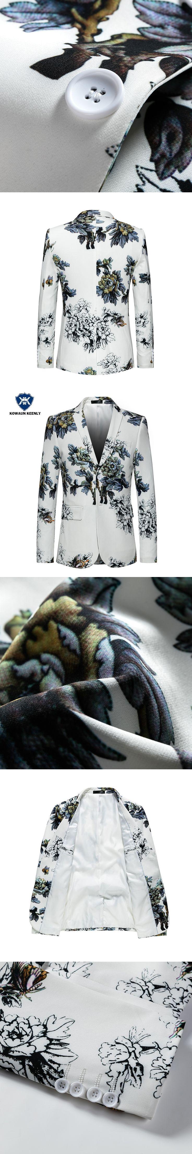 2017 Chinese Style Blazer Men Slim Floral Blazer Luxury Print Casual White Suit Jacket Coats Stage Wear Prom Blazers  5XL 6XL