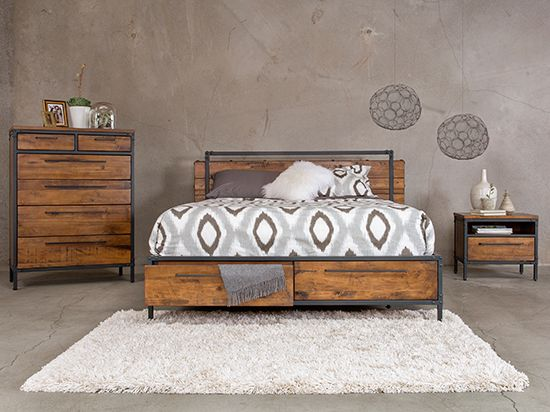 contemporary industrial furniture. insigna collection from dania furniture industrial cabin look 799 bed 849 high chest contemporary