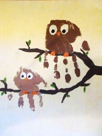 Owl Pattern Handprint Gallery Crafts in 2015 Thanksgiving