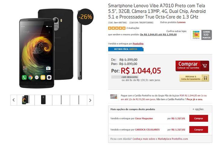 [Ponto Frio] Smartphone Lenovo Vibe A7010 por R$ 1044 em até 8x no cartão