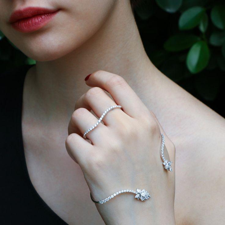 "Shop ""Flirt"" Diamond Hand Bracelet   Plukka"