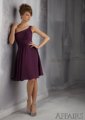 A-line Chiffon Eggplant Knee Length Ruched One Shoulder Zipper Up Sleeveless Prom Dress/Bridesmaid dress AF 31043