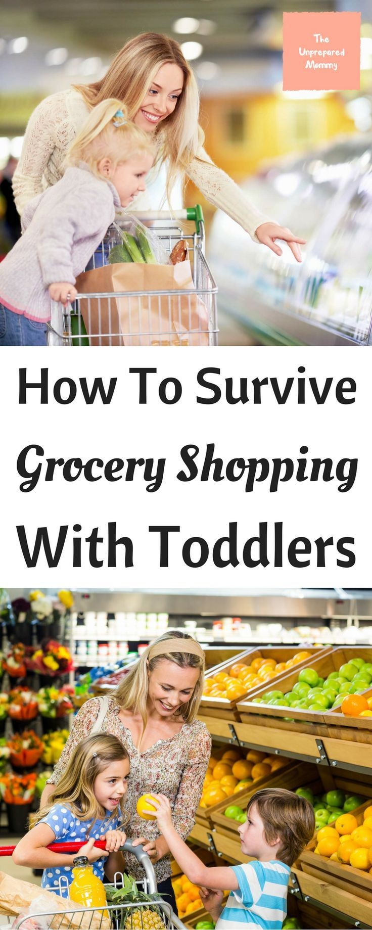 Grocery shopping with kids can become a nightmare if you aren't prepared. These are some great tips to make sure you survive grocery shopping with toddlers.