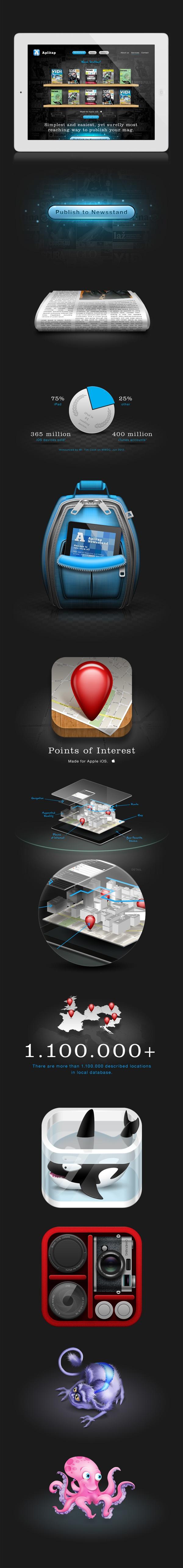 Aplitap website by Hrvoje Bielen, via Behance *** Website design and illustrations for a company Aplitap d.o.o. website.