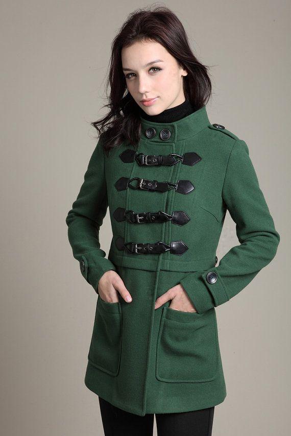 Womens Green Duffle Coat - Coat Nj