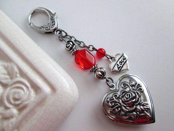 Beaded Key Chain / Purse Charm / Heart Key Chain / Antique