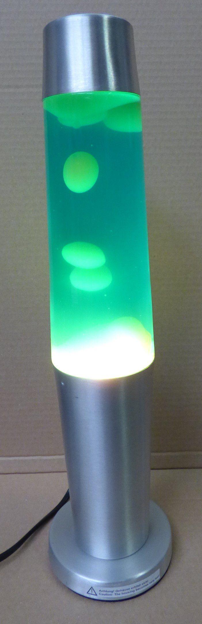 LAVA Lampe Zylinderform gelber Wachs und blaue Flüssigkeit in silbernem ALU. Der Anblick der fliesenden Formenbildung wirkt beruhigend, ideal zum Abschalten und Entspannen. Lieferung erfolgt komplett mit Lampe und Anschlusskabel mit Eurostecker. Schalter zum Ein/Aus schalten. Energieeffizienzklasse E Technische Daten: - Anschluss: 230V/50Hz - Sockel: E14 - Norm: IP20 - Belastbar: max. 35 Watt - Wachs: gelb - Flüssigkeit: blau - Leuchtmittel: Reflektor Lampe R39 - Material: Glas/Metall