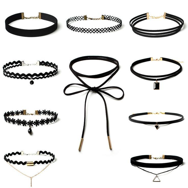 10 Unids/set Negro de Terciopelo de Franela Tela Gargantillas Collares para Las Mujeres de Moda Corto Chocker Collares Joyería ras du cou PWN0231