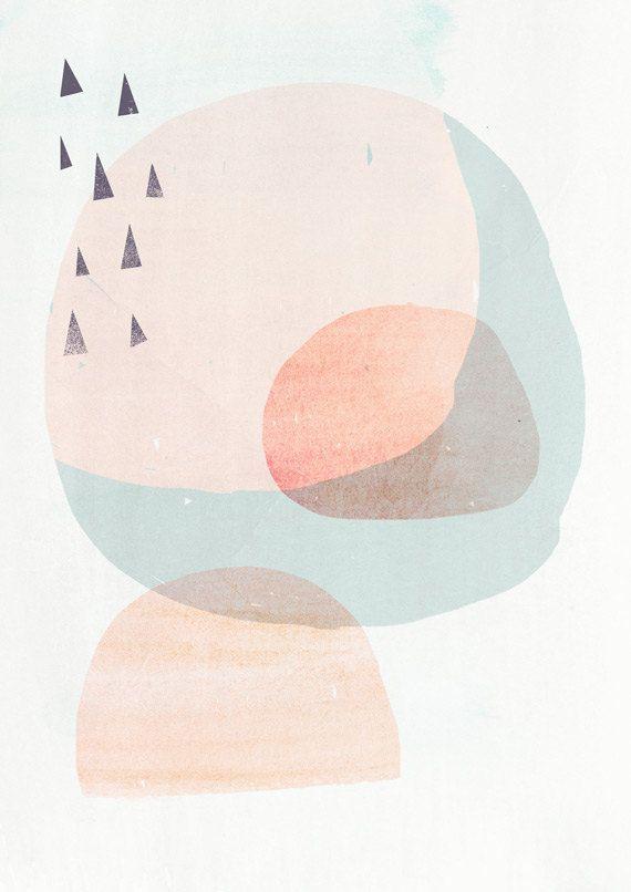8×10 Scandinavian Art Inspired Art Print CIRCLES 2- Light Peach version – Fine Art Giclee Print