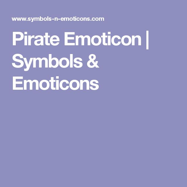 Pirate Emoticon | Symbols & Emoticons