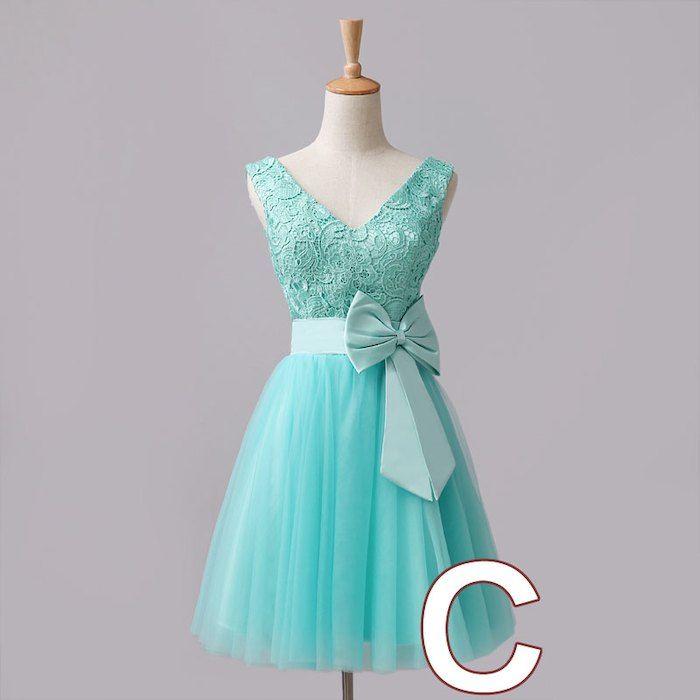 ブライズメイドドレス ショートドレス。ブライズメイドドレス ゲストドレス 二次会 お揃いドレス ワンピース  パーテイードレス ウェディングドレス ワンショルダー 編み上げ 女性用 レディース ショートドレス 6デザイン アイスブルー ピンク シャンペン LF091H