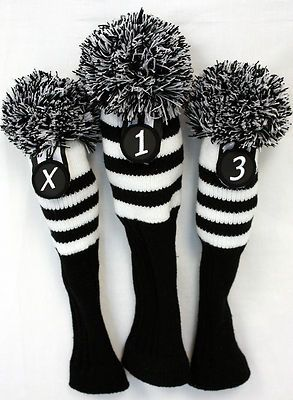Black knit Vintage Pom Pom Headcover 3-pc Set Head cover ...