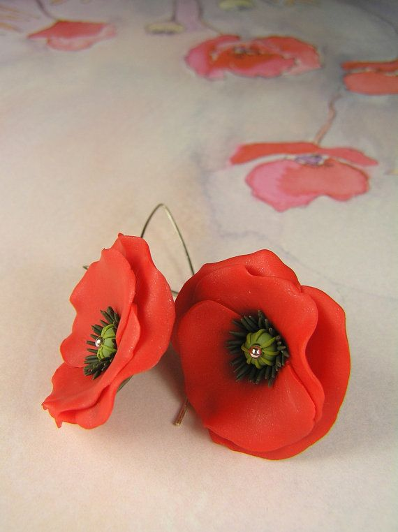 Red poppy earrings  poppies earrings  summer floral by Segitanna