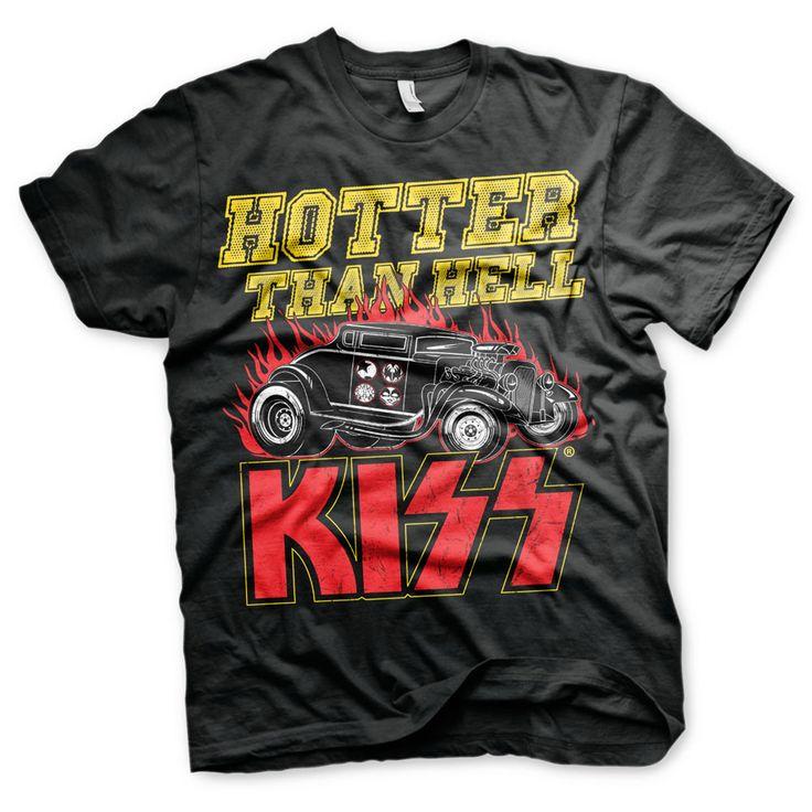 Kiss - Hotter Than Hell heren unisex T-shirt zwart - Band merchandise
