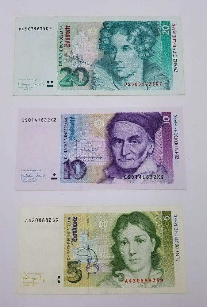 Lot Of 3 Germany Deutsche Mark Banknotes 20 10 5 Mark Banknote Paper Money Monedas