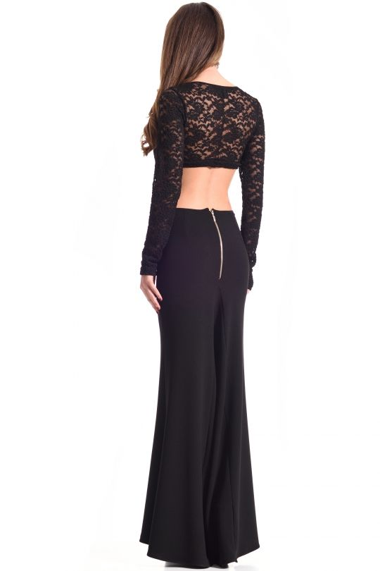 C-THROU | Open-Back Lace & Stretch-Crepe Maxi Gown +COCKTAIL DRESS +OPEN BACK +LACE & CREPE +CLEAN BY SPECIALIST +MADE IN GREECE