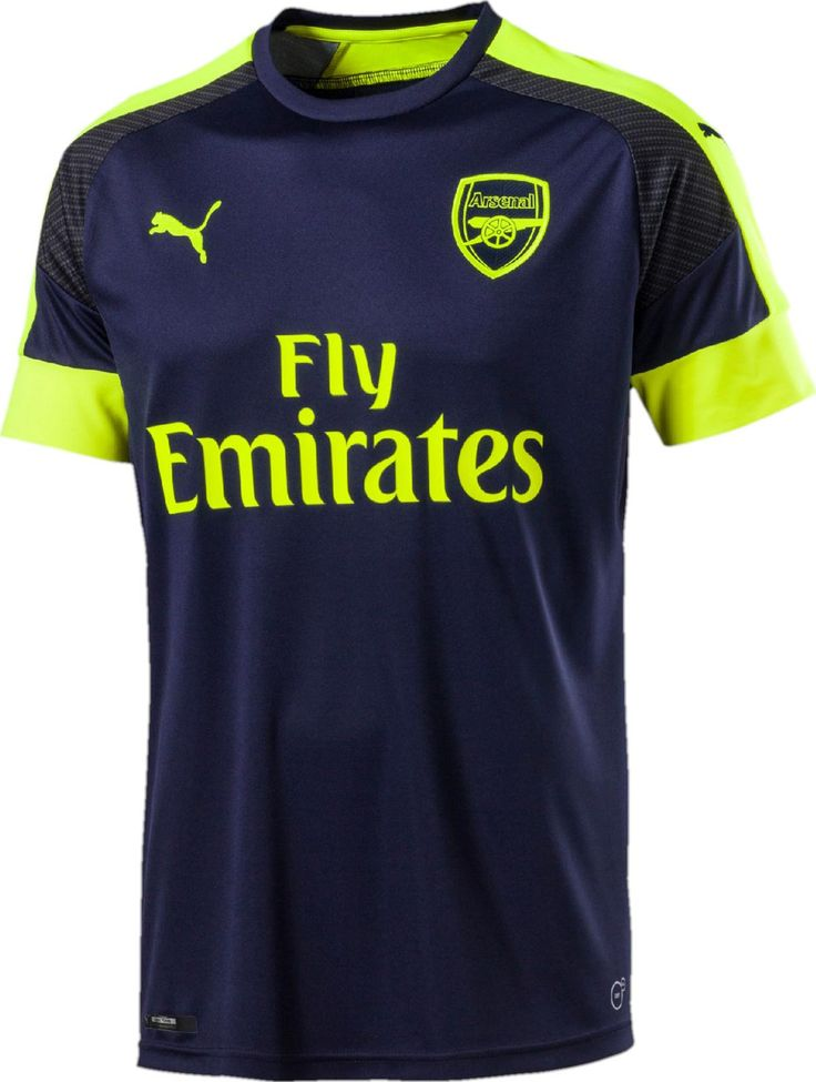 The Arsenal 16-17 third kit is dark navy with fluorescent yellow ... 74f9aafc6
