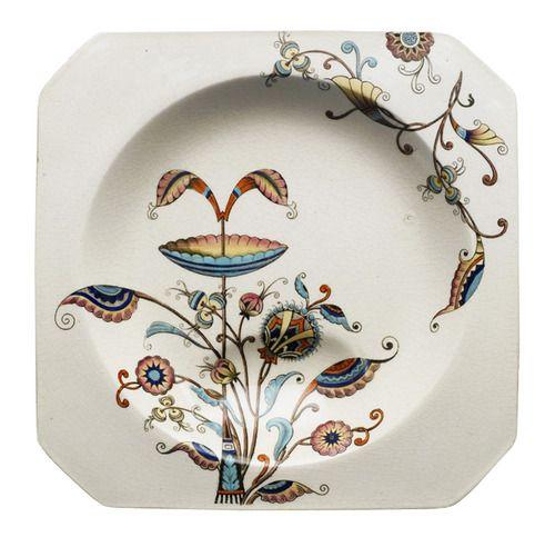 Christopher Dresser, soup plate, Persia Pattern, 1886. Glazed earthenware. England. Brooklyn Museum