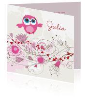 Elegant geboortekaartje meisje met uil en krullen - Binkie's:http://kaartjesparadijs.nl/winkel/elegant-geboortekaartje-meisje-met-uil-en-krullen-binkies/