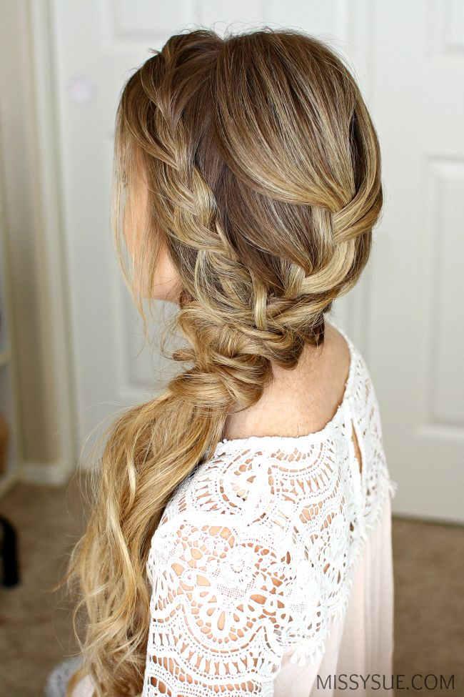 Braided Side Swept Prom Hairstyle #longhairstyles