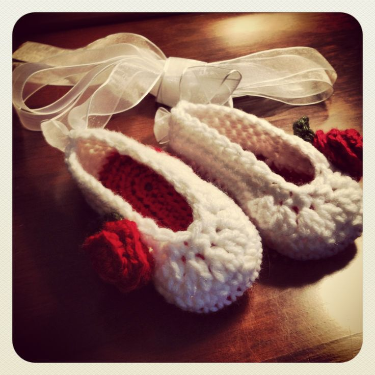 White and red rose ballet slippers