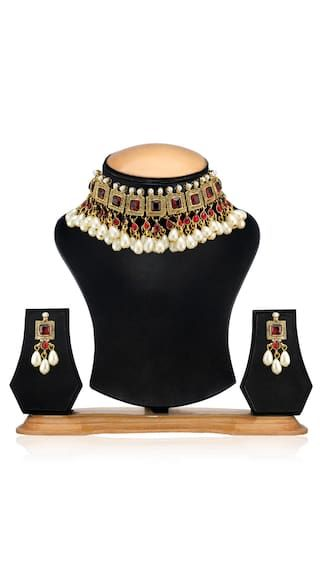 Zaveri Pearls Red And White Necklace Set