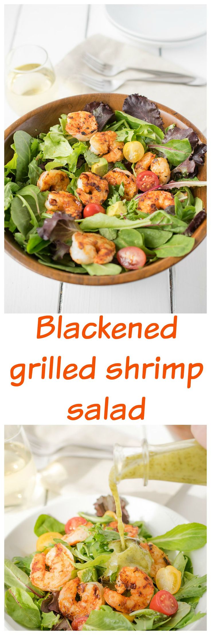 Blackened grilled shrimp salad. A simple, yet flavorful Spring & Summer salad. Blackened grilled shrimp salad is tossed with a light and fresh tasting cilantro lime dressing