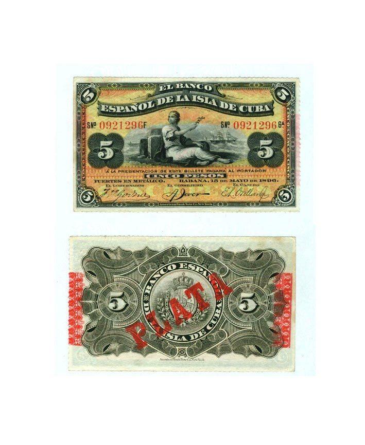 5 Pesos Banco Español de la Isla de Cuba. 15 de Mayo de 1896.