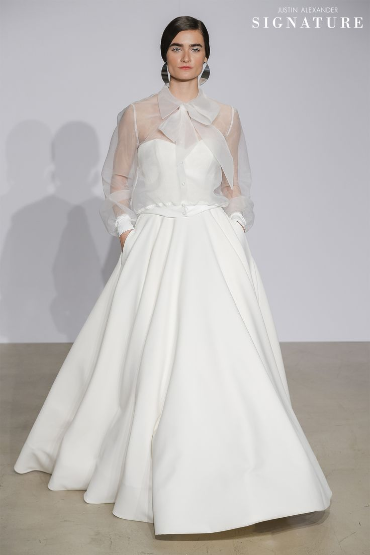 Look 5  |  99003  |  Clean Crepe Sweetheart Ball Gown and Organza Bomber Jacket with Bow Tie at Neck and Buttons (88031J)