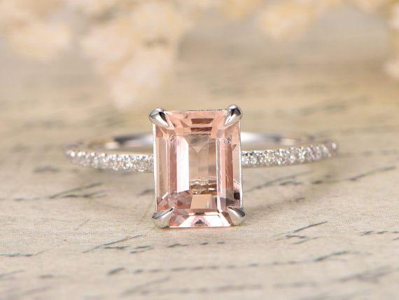 7x9mm Morganite Engagement Ring Unique Solitaire Ring Diamond Etsy Pink Morganite Engagement Ring Pink Morganite Ring Beautiful Engagement Rings