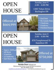 OPEN HOUSE X 2 – JUNE 4, 2-4PM