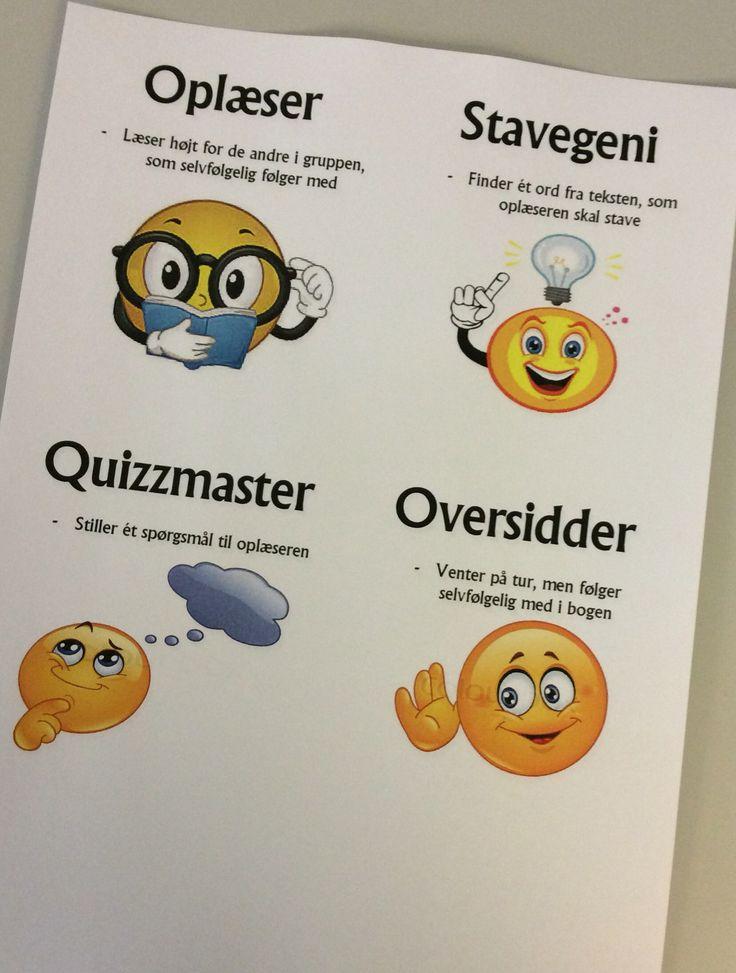 Rollelæsning - fungerer super godt når eleverne skal gennemarbejde en tekst på flere måder... Rollerne roterer i gruppen, når der er læst et stykke og ikke hele teksten... Jeg har klippet de fire kort ud og lamineret dem, så de fysisk roterer i gruppen mens rollelæsningen foregår ;-)