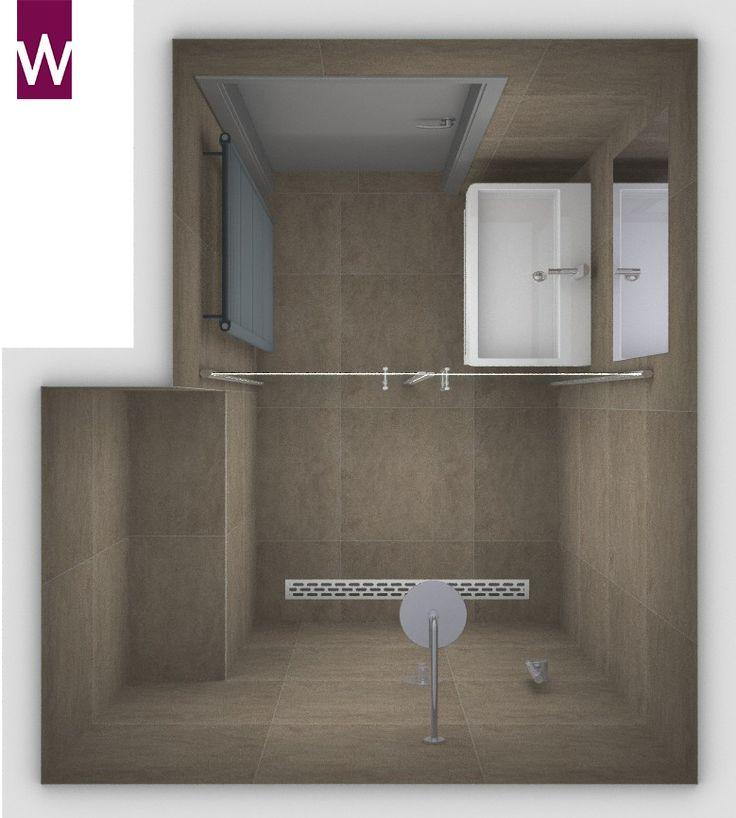 Kleine badkamer van 170 cm breed. Met dezelfde vloer- en wandtegels van 60 x 60 cm. Meer specificaties op kleinebadkamers.nl!