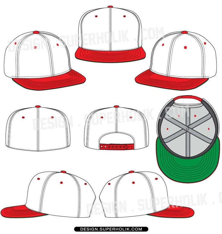 Hat template – Flat bill Snapback & Fitted. http://design.superholik.com/