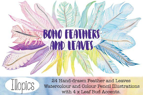 Boho Feathers and Leaves by Illopics on @creativemarket